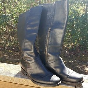 J. Crew Black Leather Tall Boots SZ 9
